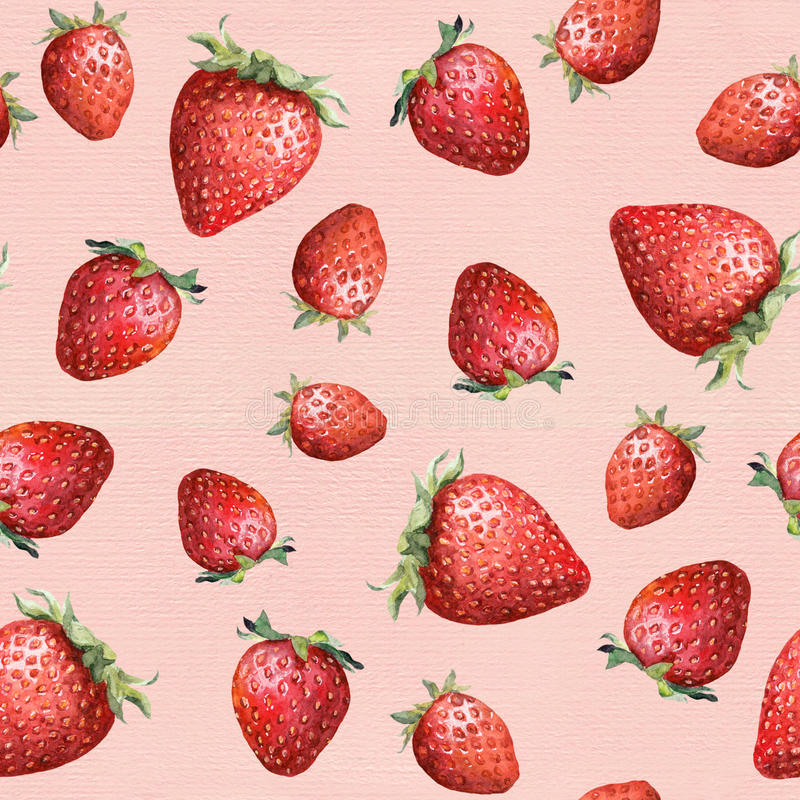 Seamless pattern - ripe strawberry on pink background. Watercolour art stock image