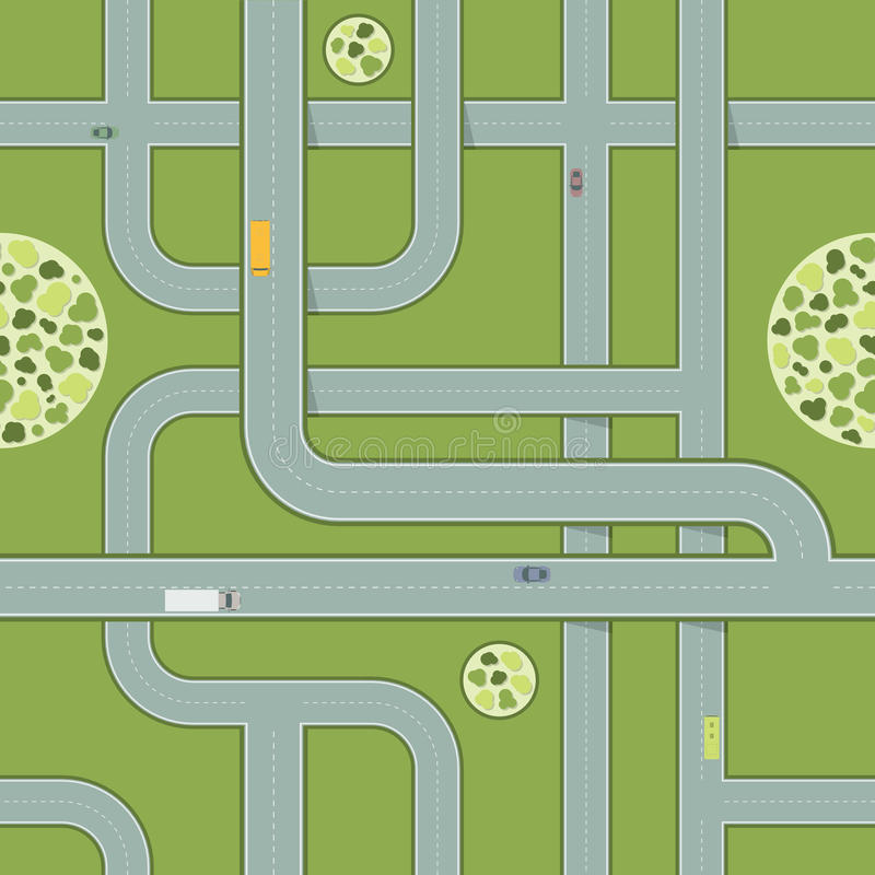 Seamless Pattern of Roads With Cars. Aerial View of Highway royalty free illustration