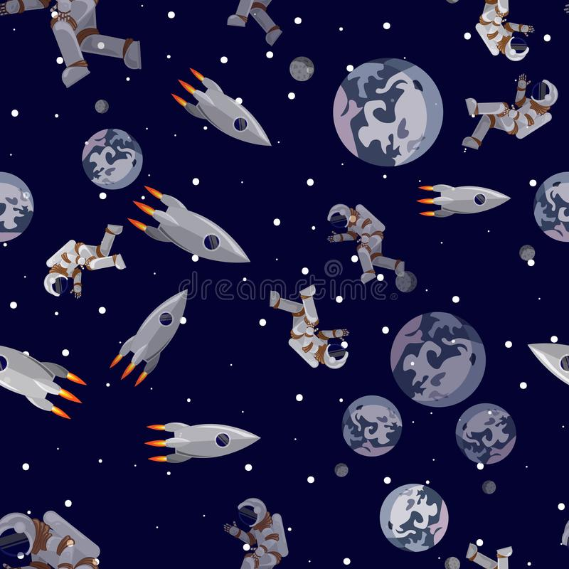 Seamless pattern Rocket and astronaut flies near the planet Earth royalty free illustration