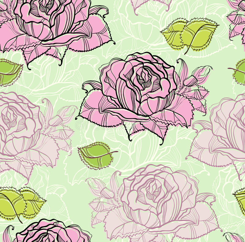 Download Seamless pattern with rose stock vector. Illustration of decorative - 23224126