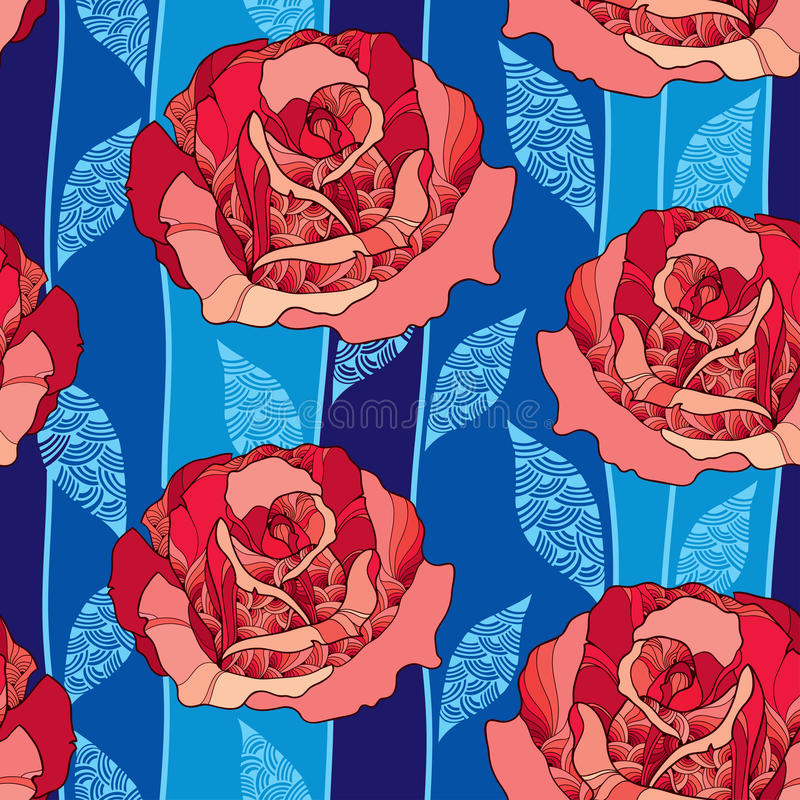 Seamless pattern with rose flower in red and blue ornate leaves on the dark blue background stock illustration