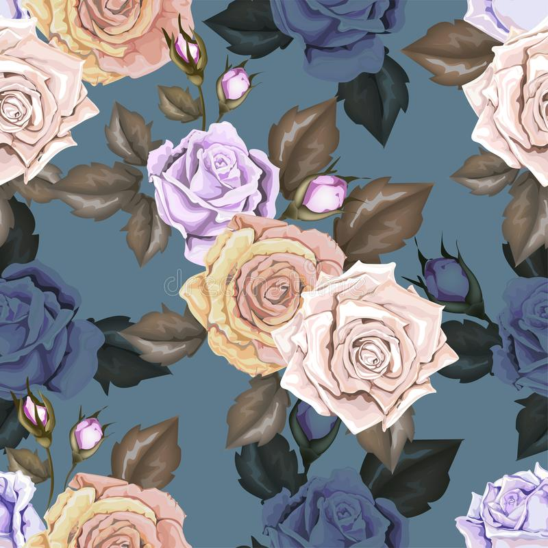 Seamless pattern rose with flowers bud and leaves on blue background stock illustration