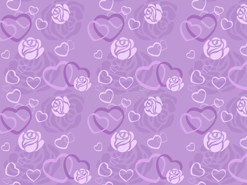 Seamless pattern of rose and heart stock illustration