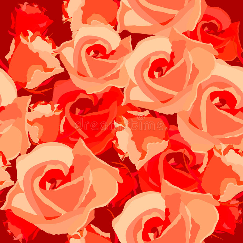Seamless pattern with roses. Seamless light romantic pattern with red roses royalty free illustration