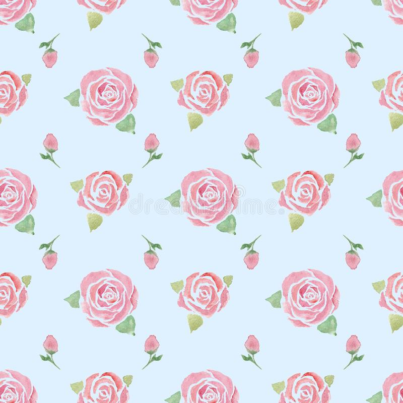 Seamless pattern with  roses on a blue stock photo