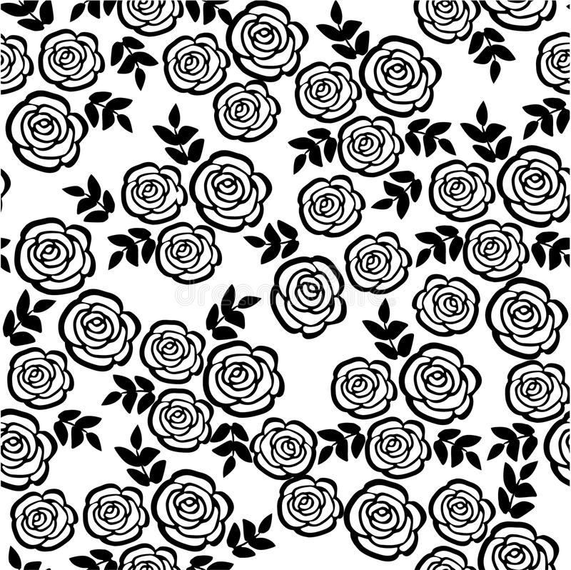 Black Flower And Bud Pattern Royalty Free Stock Photos: Seamless Pattern With Roses, Floral Background Stock