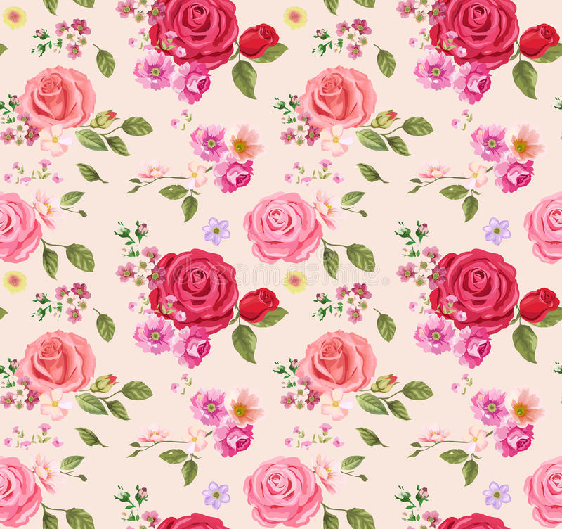 Seamless pattern with roses. Floral background. design composition stock illustration