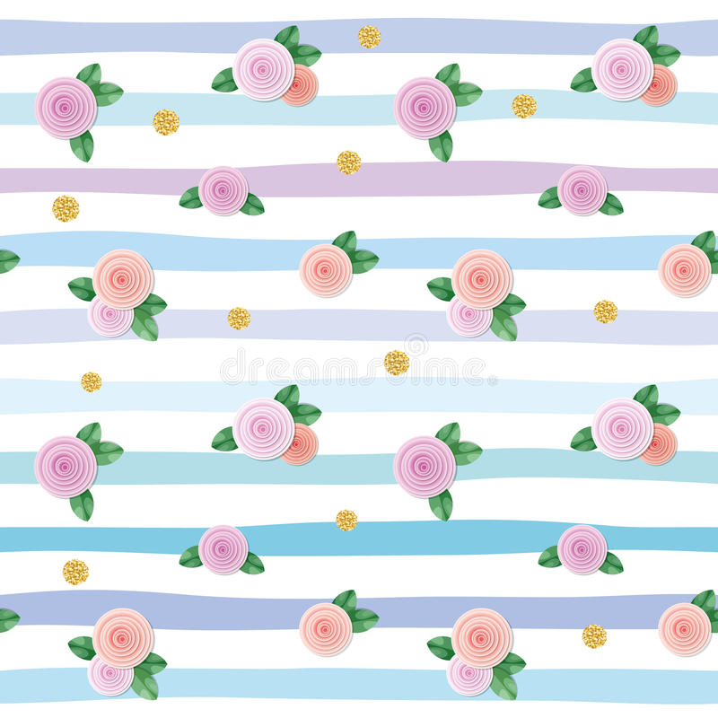 Seamless pattern with roses and gold glitter polka dots on striped background. royalty free illustration