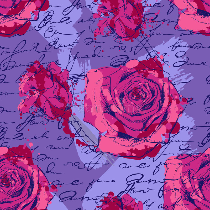 Seamless pattern with roses, handwriting and vector illustration