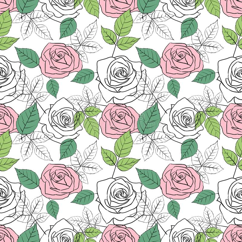 Seamless pattern with roses and leaves vector illustration