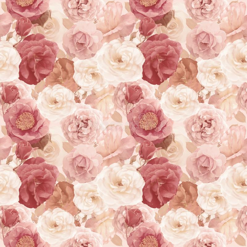 Download Seamless   Pattern With Roses And Leaves Stock Illustration - Illustration of seamless, floral: 108281591
