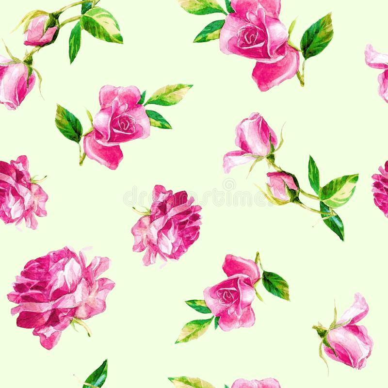 Seamless pattern of roses in watercolor. stock images