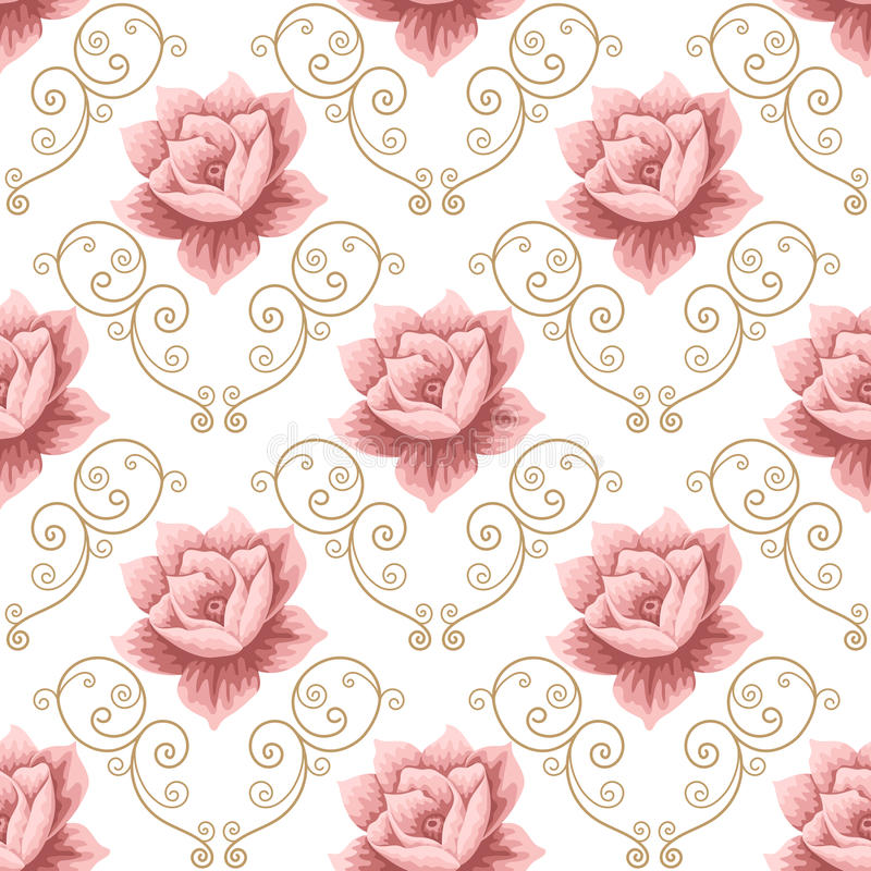 Seamless pattern with roses. Seamless pattern with pink roses and curly design elements on white background. Vector illustration in retro style stock illustration