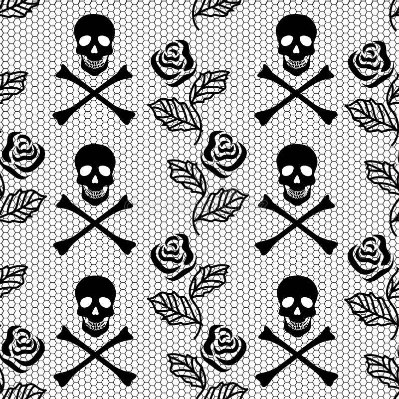 Seamless pattern of roses and skulls stock illustration