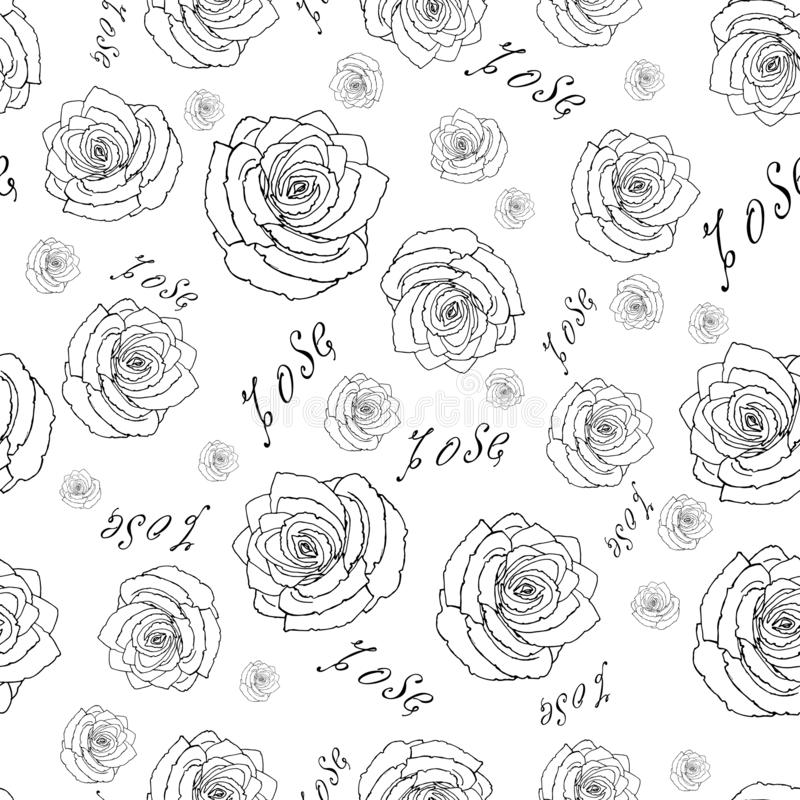 Seamless pattern of roses. Stylish wallpaper with falling colors and inscriptions. Stylish seamless pattern with flowers on a white background. Wallpaper with vector illustration