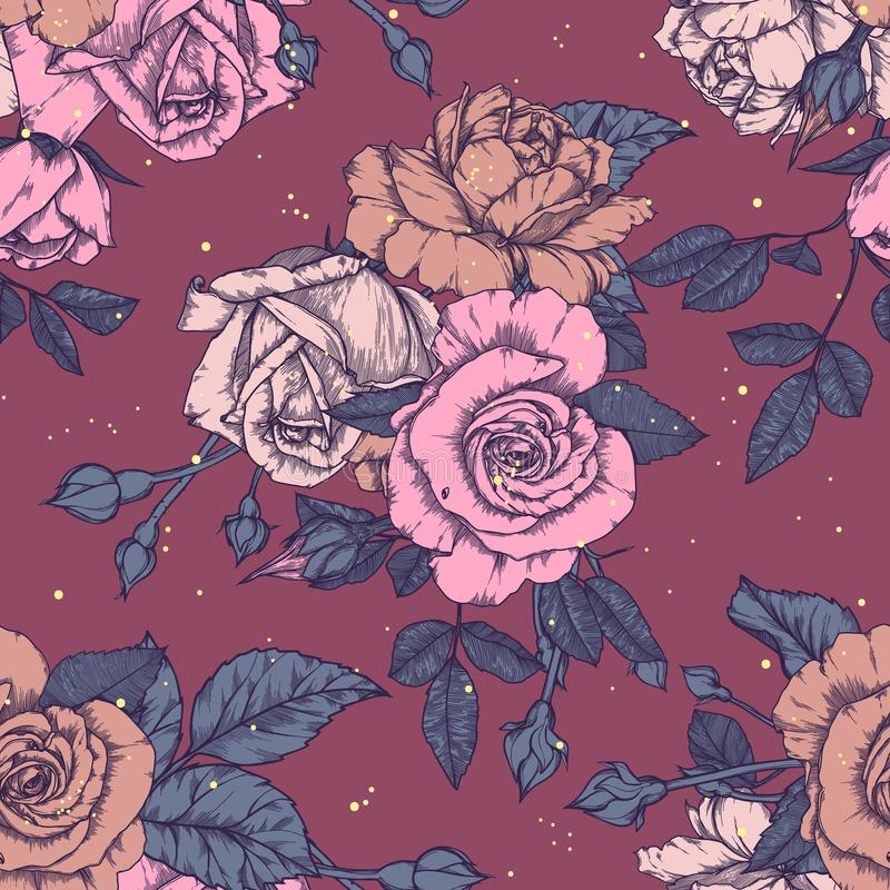 Seamless pattern with roses Vintage design vector illustration