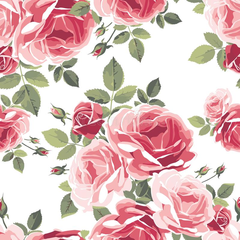 Seamless pattern with roses. Vintage floral background. stock illustration