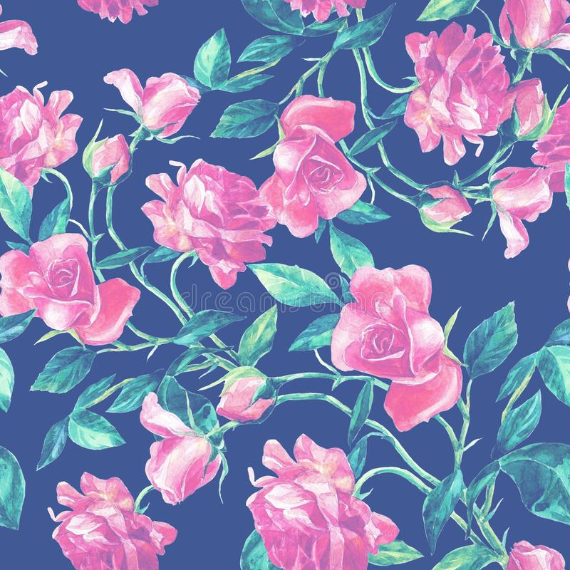 Seamless pattern of roses in watercolor. stock photography