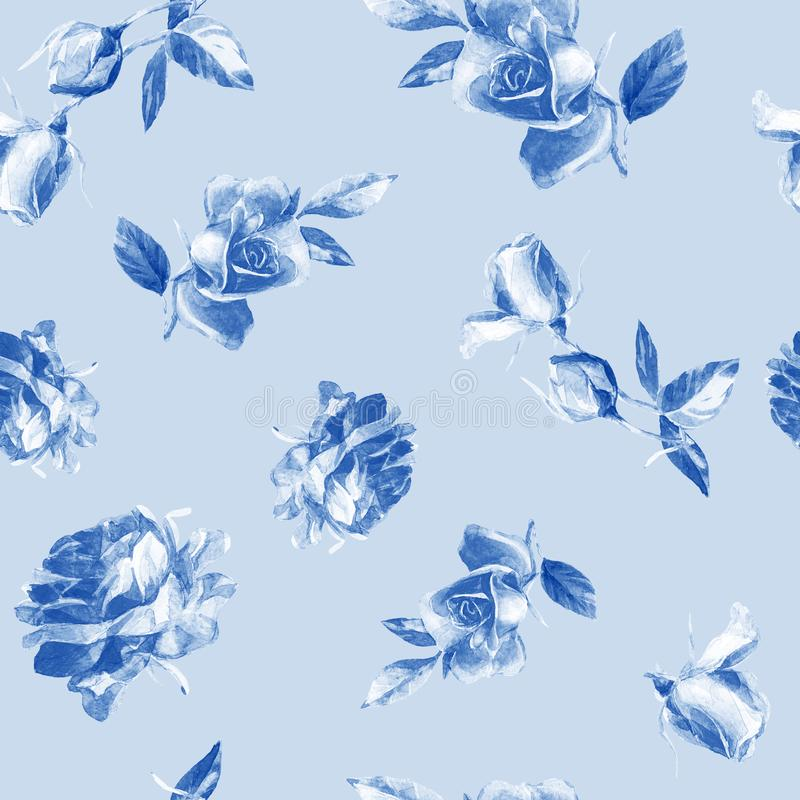 Seamless pattern of roses in watercolor. stock photo