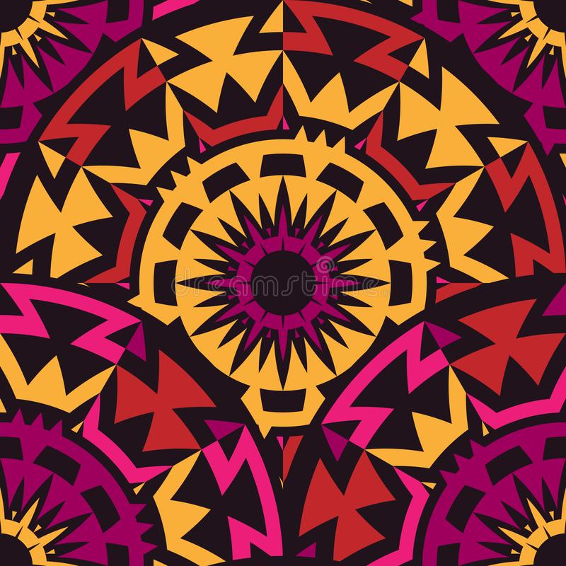 Seamless Pattern with rotated tribal elements stock illustration