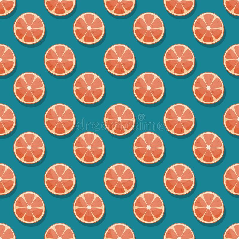 Seamless pattern with round grapefruit slices on blue background. Flat lay vector background vector illustration