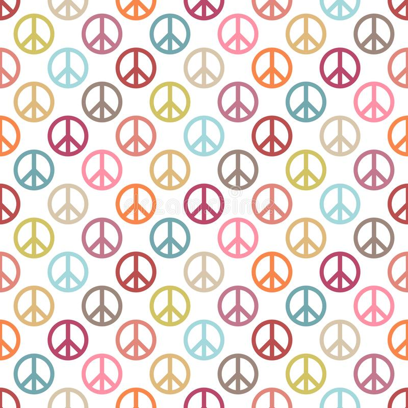 Seamless Pattern Round Peace Icon Different Retro Colors vector illustration