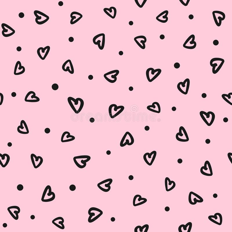 Seamless pattern with round spots and hearts drawn by hand. Doodle, sketch. Romantic print. Vector illustration royalty free illustration