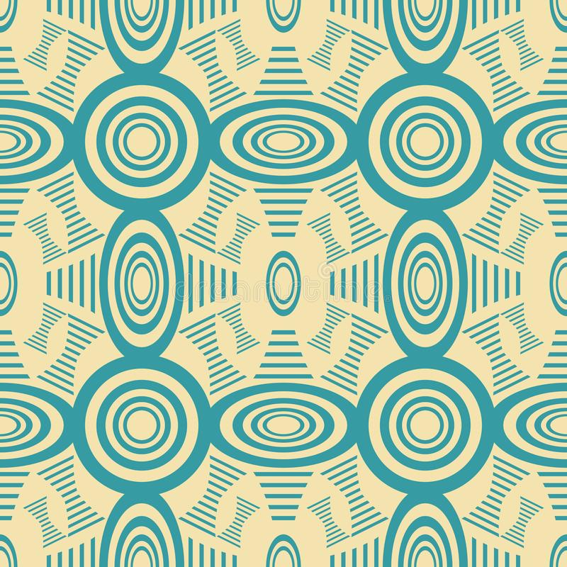 Seamless pattern of rounded and bow shaped striped figures. Abstract seamless geometric pattern of rounded and bow shaped striped figures in retro color palette vector illustration