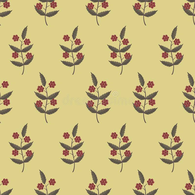 Seamless pattern with rowan berries and leaves. stock illustration