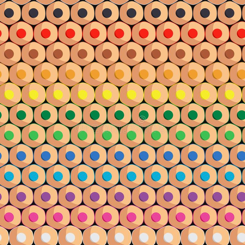 Seamless pattern with rows of colored pencils. Vector background. stock illustration