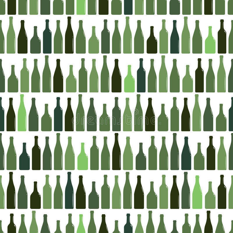 Seamless pattern of rows of multi-colored wine bottles, vector illustration royalty free illustration