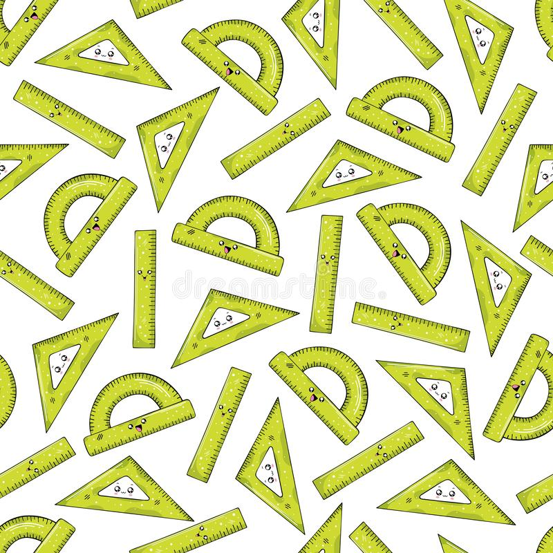 Seamless pattern from rulers of green color in the style of Kawai stock illustration