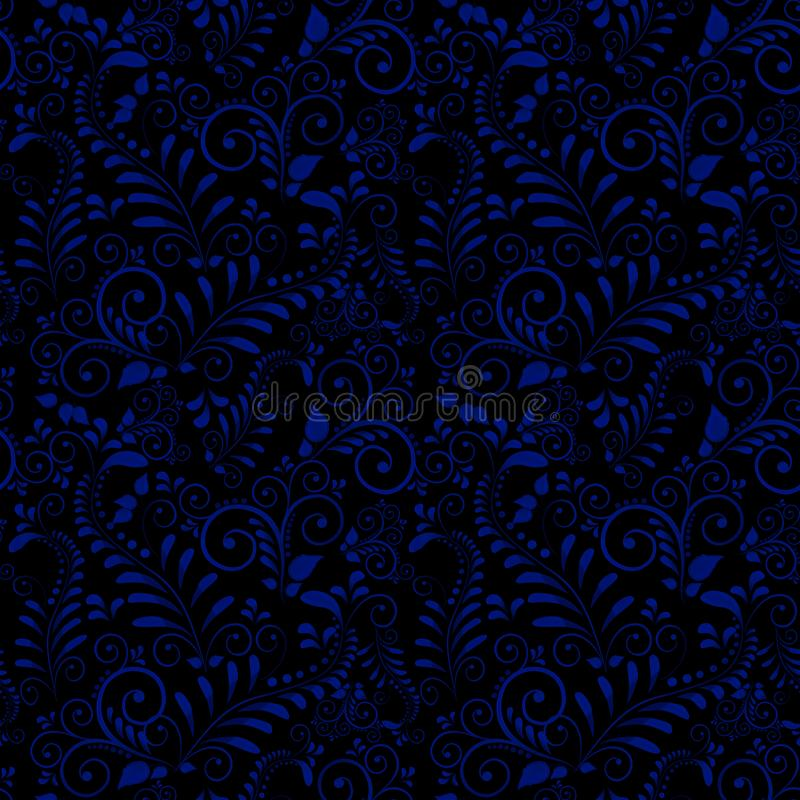 Seamless pattern of Russian national ornament on black background. vector illustration