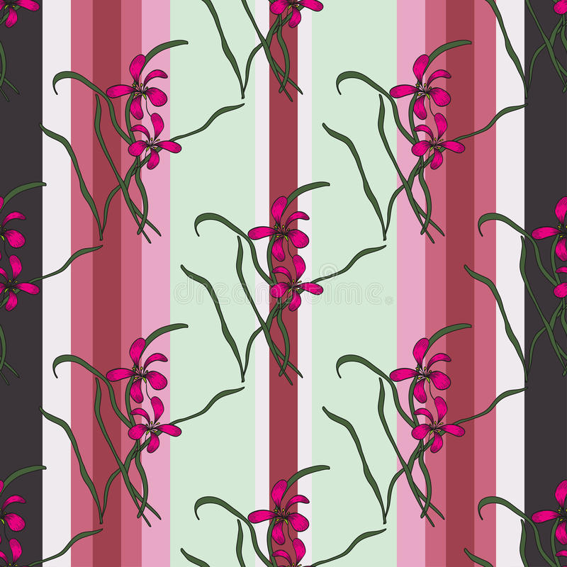 Vector Vertical Wallpaper With Orchid Stock Vector