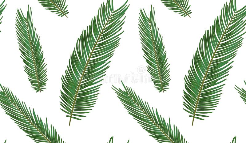 Seamless pattern with sago palm tropical seeded branch, green le vector illustration