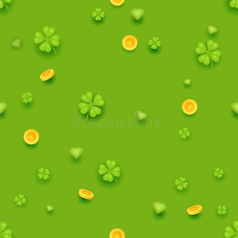 Seamless Pattern Saint Patrick Day Gold Coins Clover Green Hearts Background Greeting Card Flat Design Vector stock illustration