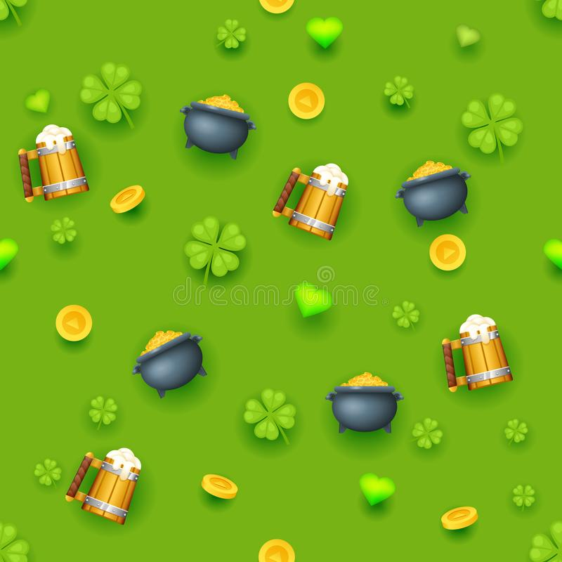 Seamless pattern saint patrick day gold coins clover green hearts beer cauldron background design vector illustration royalty free illustration
