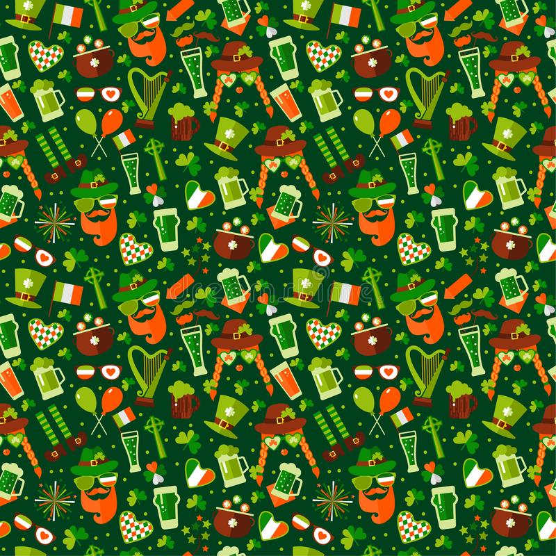 Seamless pattern for Saint Patricks day on green royalty free stock image