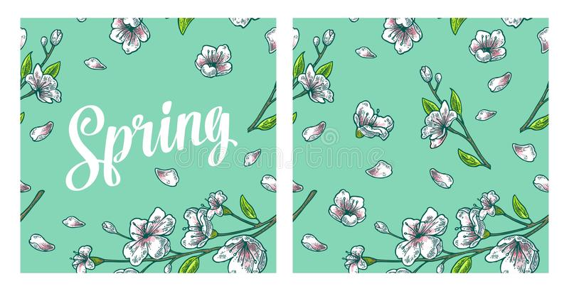 Seamless pattern sakura blossom. Cherry branch with flowers and bud. stock illustration