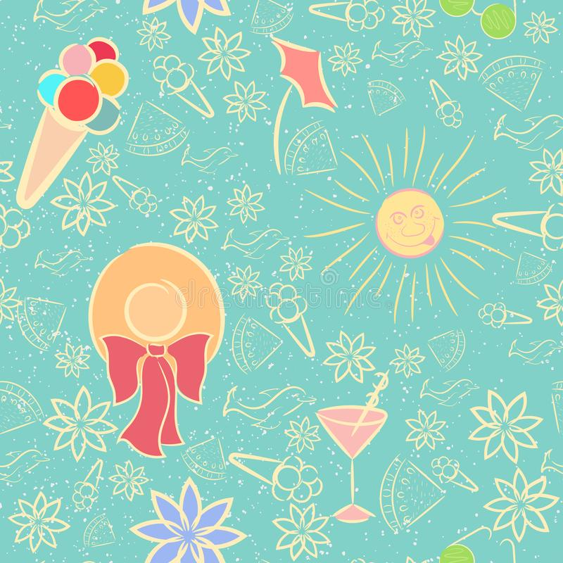 Summer Seamless Pattern with Texture. Seamless Pattern with Sand Texture and Fun Summer Items Made with Color and Light Yellow Outline. Seamless Pattern with royalty free illustration