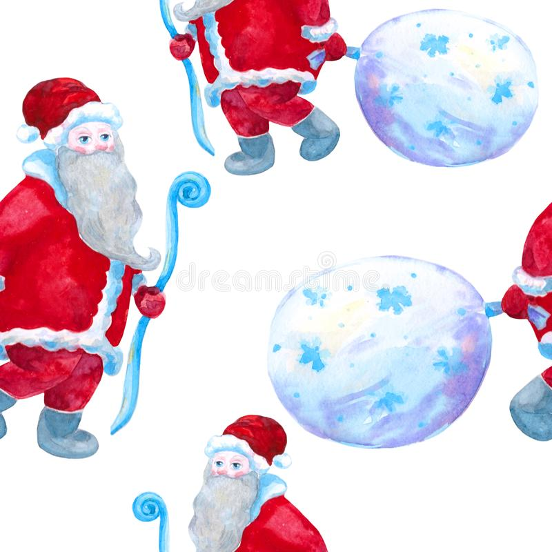 Santa Claus with a bag of gifts. watercolor illustration royalty free stock photography