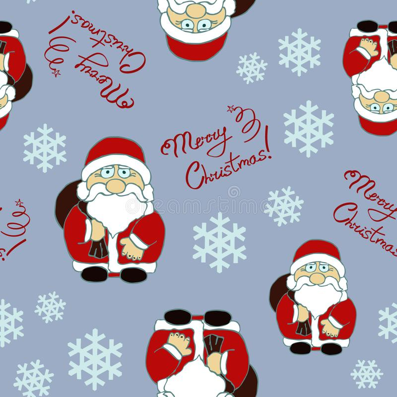 Seamless pattern with Santa Claus character and lettering stock photo