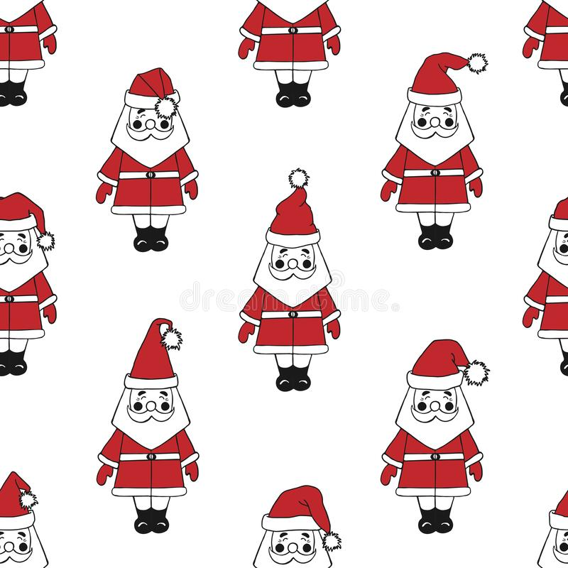 Seamless pattern with Santa Claus on white background vector illustration