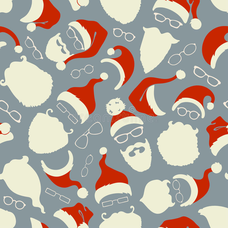 Seamless pattern of Santa hats, beards and eyeglasses. vector illustration