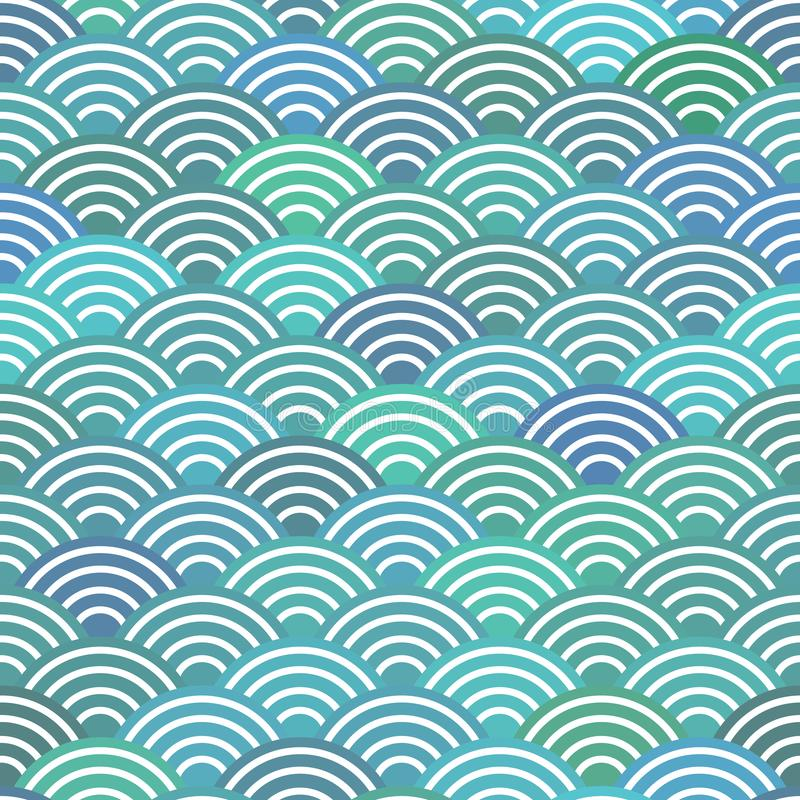 Seamless pattern scales simple Nature abstract texture with japanese wave circle pattern pastel colors blue waves sea ocean backgr stock illustration