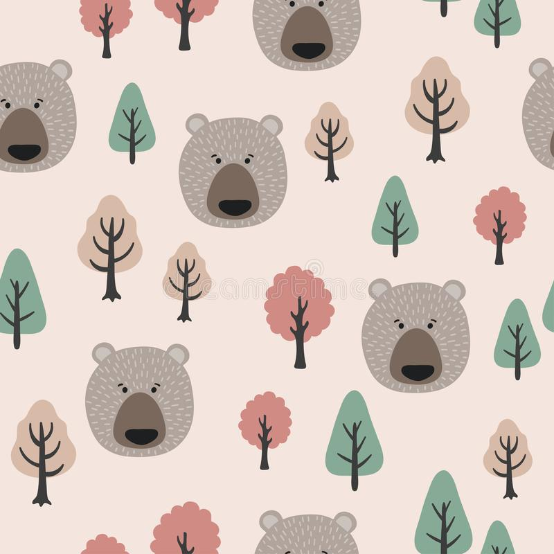 Seamless Pattern in Scandinavian style with cute bears and trees stock illustration
