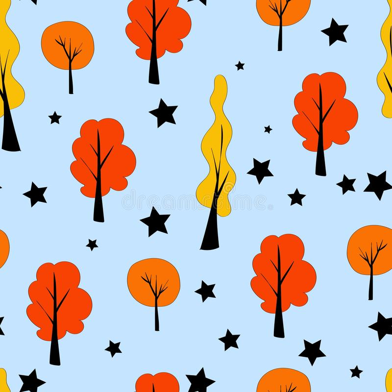 Seamless pattern in scandinavian style. Trees on a blue background. Kids style royalty free illustration