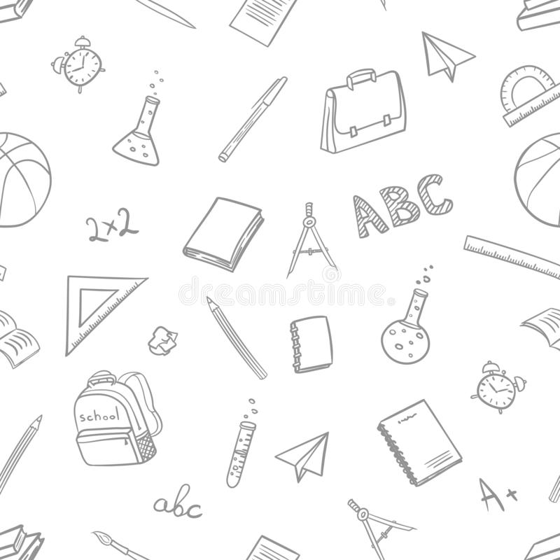 Seamless pattern with school elements on return to school in doodle style on white background. Vector illustration royalty free illustration