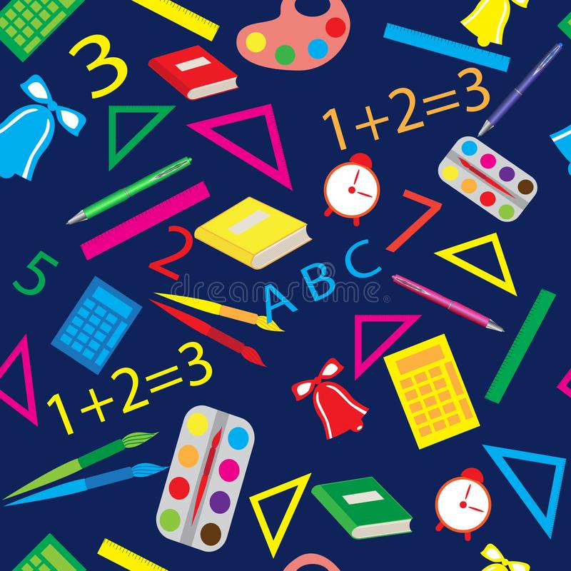 Seamless pattern with school items stock images