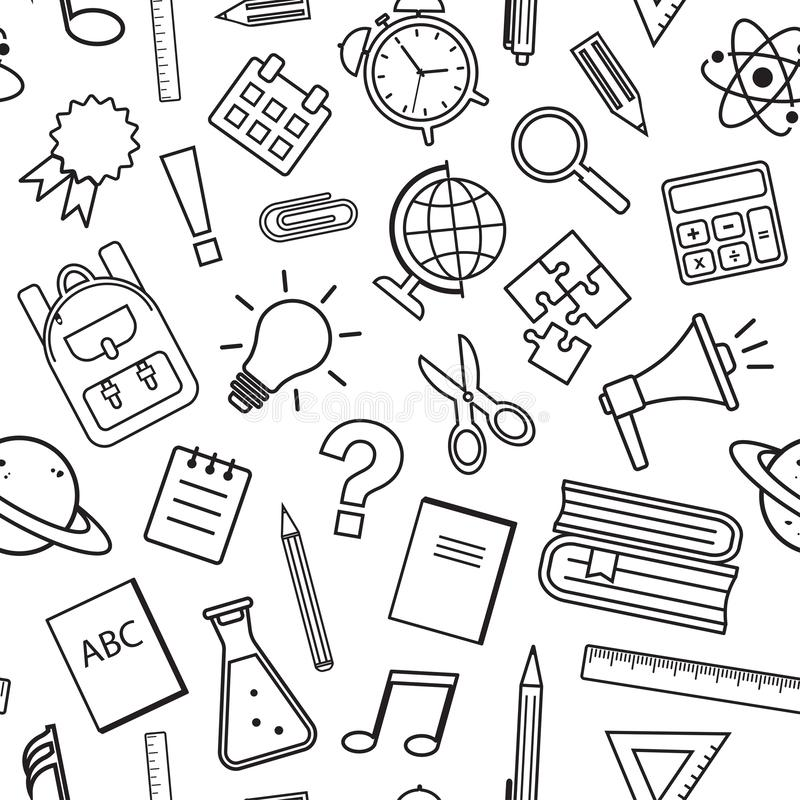 Seamless pattern with school supplies isolated on white background. Black line art. Vector. Illustration vector illustration